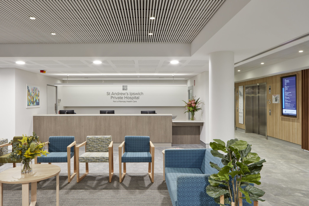 St Andrews Private Hospital, Ipswich, Phillips Smith Conwell architects, Brisbane architects. Queensland architects. healthcare design, hospital architecture, Waiting room