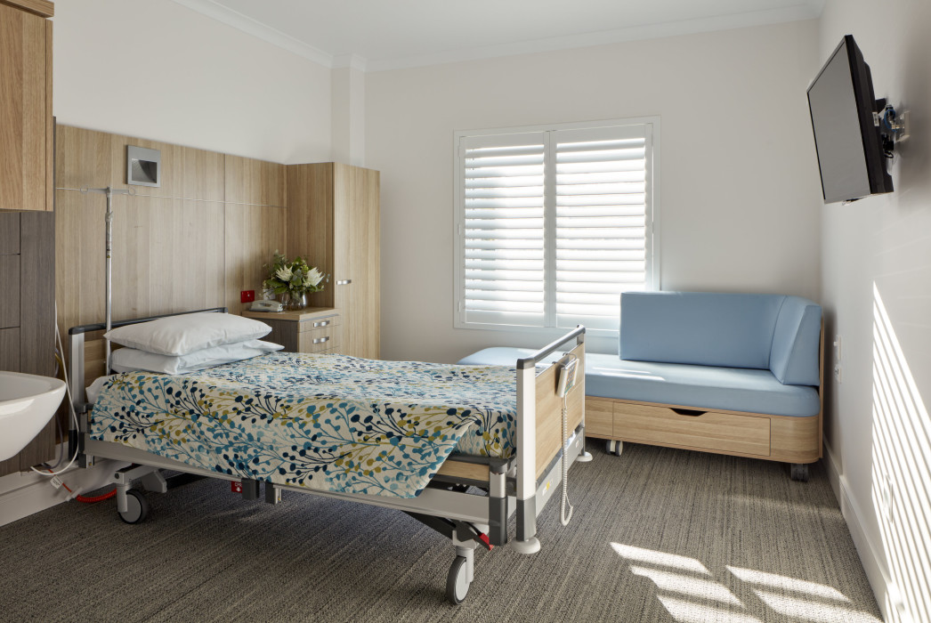 St Andrews Private Hospital, Ipswich, Phillips Smith Conwell architects, Brisbane architects. Queensland architects. healthcare design, hospital architecture, patient room