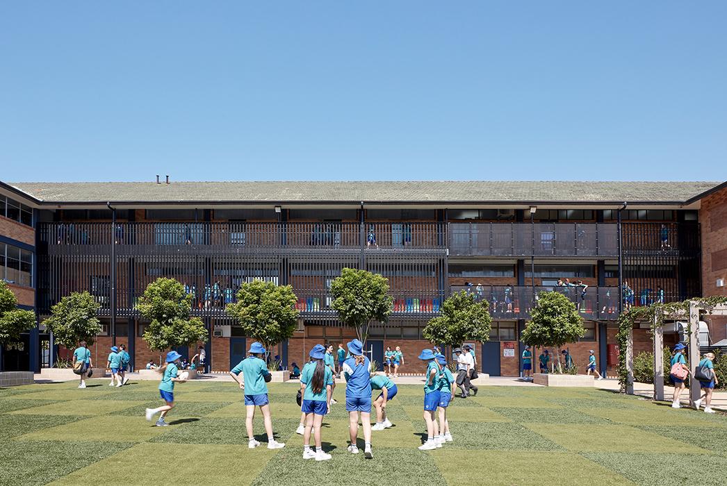 Phillips Smith Conwell, Brisbane Architect, Queensland architect, catholic education, brisbane catholic school, school architecture, school refurbishment, secondary school design, australian architecture, facade design, balustrade