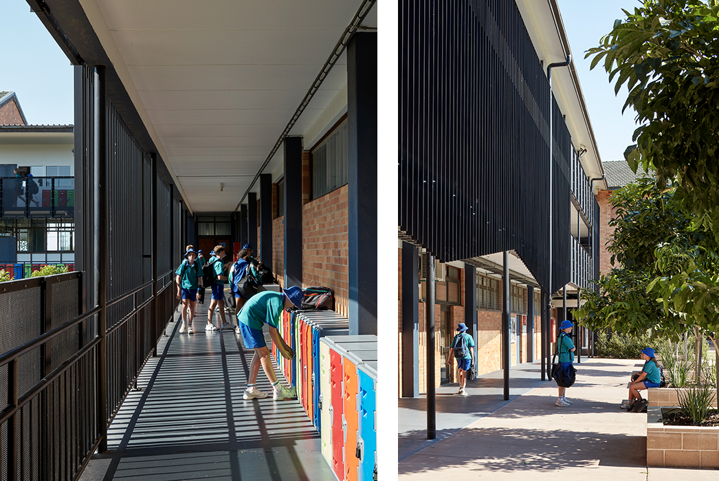 Phillips Smith Conwell, Brisbane Architect, Queensland architect, catholic education, brisbane catholic school, school architecture, school refurbishment, secondary school design, australian architecture, facade design, balustrade