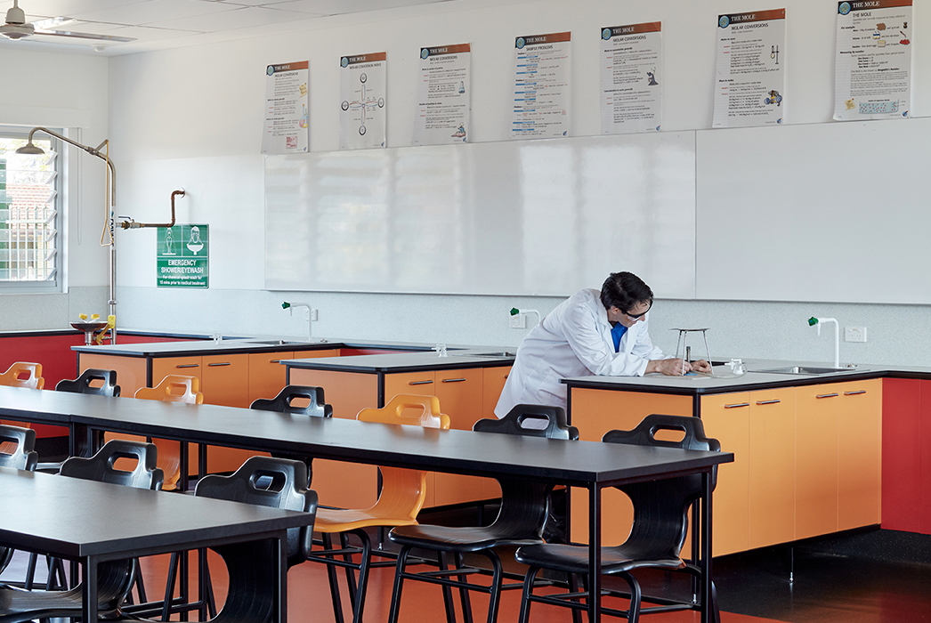 Phillips Smith Conwell, Brisbane Architect, Queensland architect, catholic education, brisbane catholic school, school architecture, school refurbishment, secondary school design, australian architecture, school laboratory, lab design, STEAM learning
